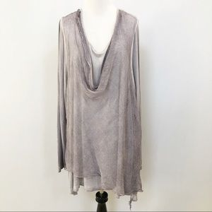 Soft Surroundings lilac gray silk drape top 1020